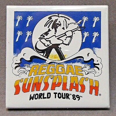 REGGAE SUNSPLASH WORLD TOUR '89  square celluloid pinback button