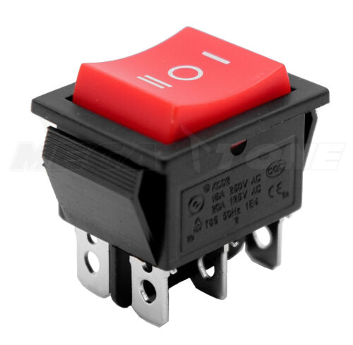 (1 PC) DPDT ON-OFF-ON Rocker Switch Red Button T85 KCD2 20A/125VAC - USA SELLER!