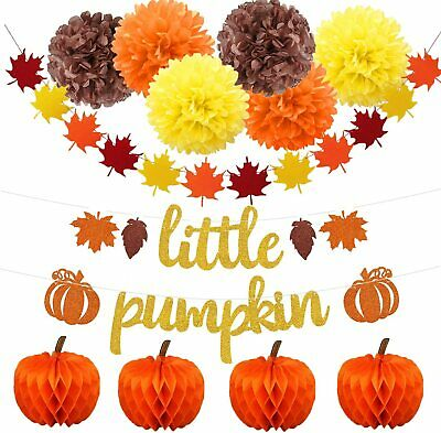 Glitter Little Pumpkin Banner Set Fall Leaves Garland Banner, Paper Flower Balls