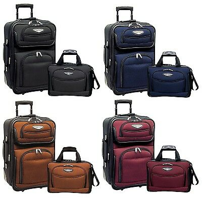 Amsterdam 2pc Carry-on Expandable Rolling Luggage Suitcase Tote Bag Travel -