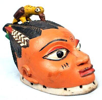 Art African - Antique Mask Yoruba Yorouba Gelede - Bird in Crest - 33 Cm