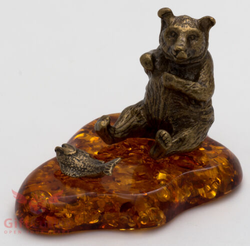 Solid Brass Amber Figurine of Bear with fish Totem talisman IronWork