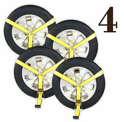 Four Side Mount Wheel Net with ratchet and flat hook, Tire Lasso Strap