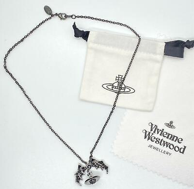 Vivienne Westwood Black Bat Wing Orb Planet Necklace