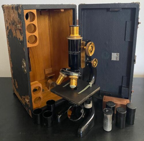 Antique Bausch & Lomb Brass Microscope Pat. 1915 with Wood Case