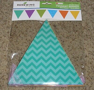 Teacher Resource Double Sided Pennant Bulletin Board Banner With Ribbon