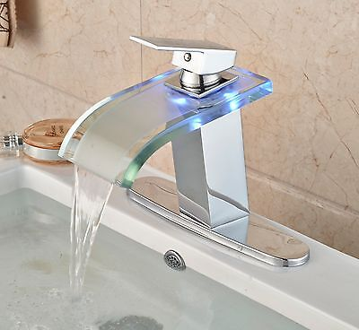 "LED Light Bathroom Sink Faucet Waterfall Mixer Tap with 8"" Holes Cover Plate"