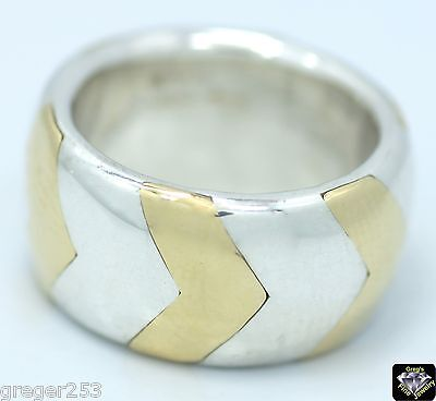 TIFFANY & Co. 18K Gold and Sterling Silver 10mm Band Ring Size 3