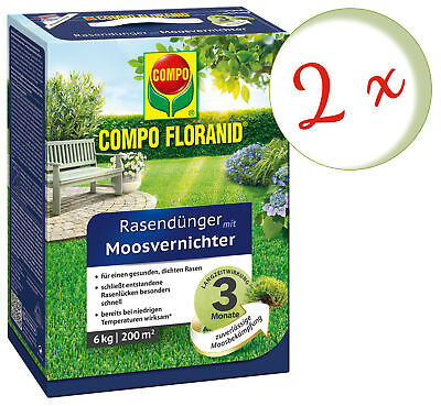 Savings Set: 2 X Compo Floranid Lawn Fertilizer With Moss Annihilator, 6 KG