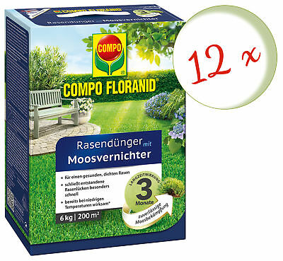 Savings Set: 12 X Compo Floranid Lawn Fertilizer With Moss Annihilator, 6 KG