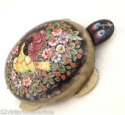 TURTLE Russian Lacquer Box Paradise Birds Hand painted original Artwork Mstera -