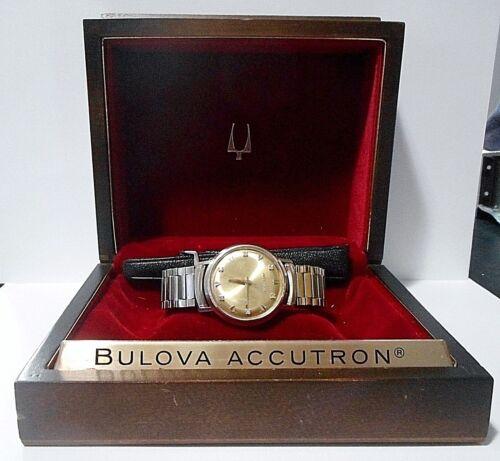BULOVA ACCUTRON MENS WATCH, WORKING!, NEW BATTERY VINTAGE 1966 10K, 6 DIAMONDS