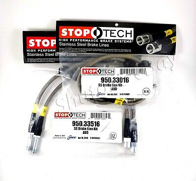 STOPTECH STAINLESS STEEL BRAIDED FRONTREAR BRAKE LINES FOR 08 17 AUDI S5 ALL