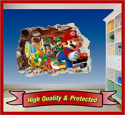 Super Mario Brothers Dekorationen (Super Mario Brothers Hole in Wall - Printed Vinyl Sticker Decal Children Bedroom)