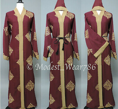 Dubai Open Abaya Kaftan Kimono Cardigan Muslim Women Maxi Dress Maroon