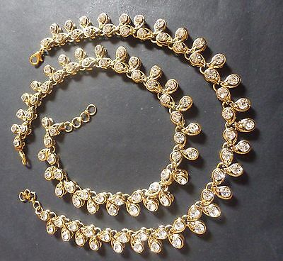 Set White Anklet - Indian Traditional Antique Gold Plated Kundan Polki White Stone Foot Anklet Set