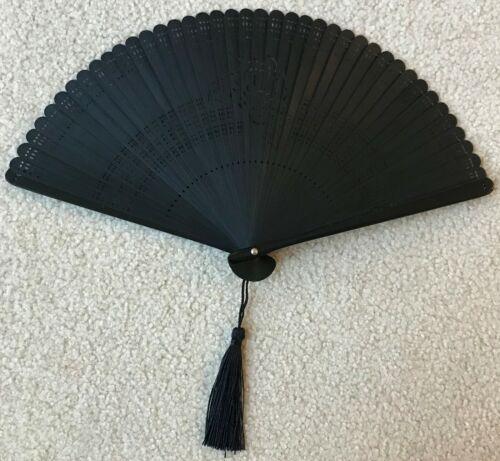 Black Bamboo Rose Pattern Hand Held Folding Wedding Fan w/ Nylon Fan Bag