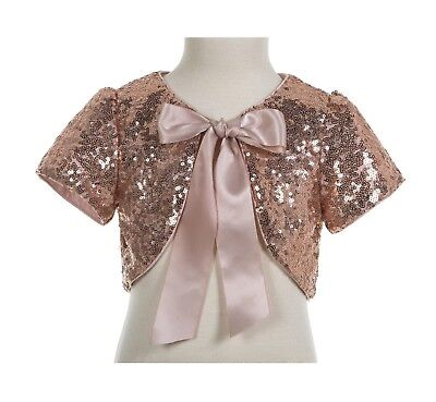 Rose Gold Sequins Capes Flower Girl Bolero Jacket Dress Cover Up Girls Shrug