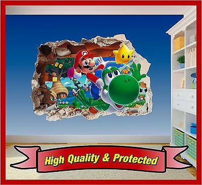 Super Mario Brothers Dekorationen (Super Mario Brothers Hole in Wall 2 - Print Vinyl Sticker Decal Children Bedroom)