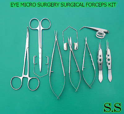 10 Eye Micro Surgery Surgical Ophthalmic Veterinary Forceps Instruments Ey-010