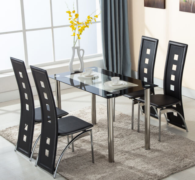 5 piece glass dining table set 4 leather chairs kitchen room breakfast furniture - Kitchen Tables Ebay