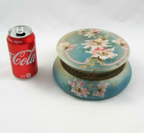Large Hand-Painted Large Porcelain Hinged and Lined Jewelry Casket / Box