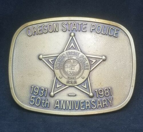 Oregon State Police OSP Brass Belt Buckle 50th Anniversary 1931-1981