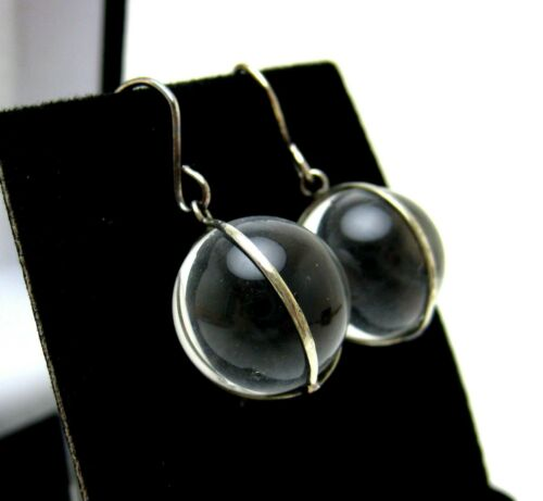 ANTIQUE ART DECO STERLING SILVER ROCK CRYSTAL POOLS OF LIGHT EARRINGS