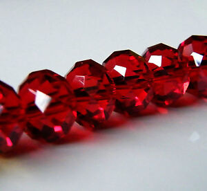 30pcs 9x12mm Faceted Crystal Rondelles - Dark Red