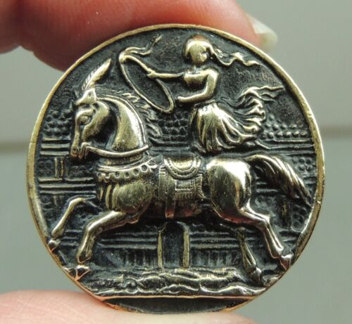 BRASS PICTURE BUTTON ~ CIRCUS RIDER    METAL