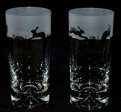 *HARE GIFT* Boxed PAIR HIGHBALL TUMBLER GLASS with HARE FRIEZE design