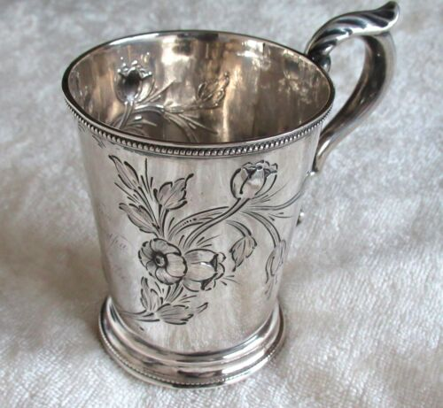 Antique Coin Silver Floral & Foliate Mug Drinking Cup From Grandpa 900 Shaving