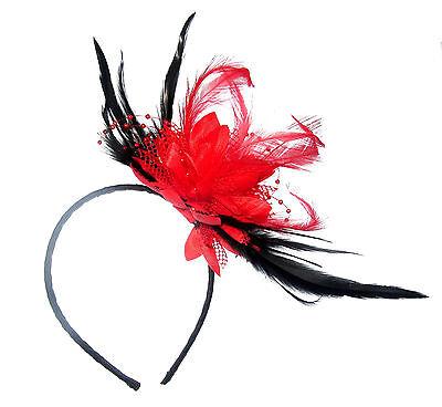 Maravilloso Rojo y Negro Tocado Diadema Para Ocasiones Especiales