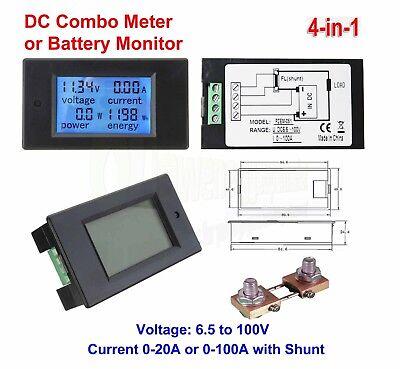 Battery Meter (Digital DC Watt Meter 12v 24v 48v Voltage Current Battery Monitor Solar Power)