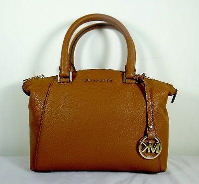 Riley Satchel - Michael Kors Riley XS Pebbled Leather Satchel Crossbody Bag in Luggage