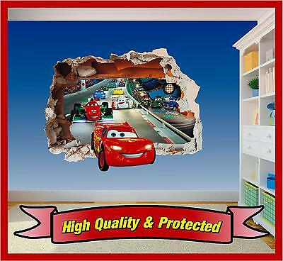 Cars Hole in Wall - Lightning McQueen 3D Printed Vinyl Sticker Decal Childrens ()