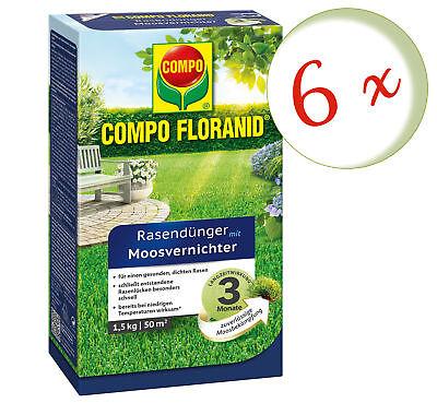 Savings Set: 6 X Compo Floranid Lawn Fertilizer With Moss Annihilator, 1,5 KG