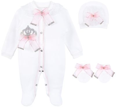 Lilax Baby Girl Jewels Crown Layette 3 Piece Gift Set 0-3 M