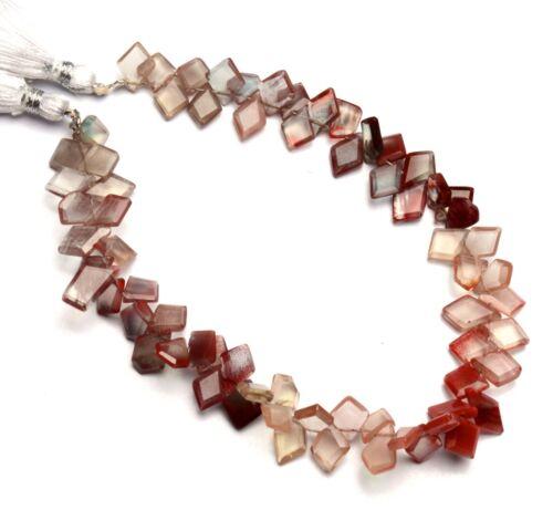 """Natural Andesine Labradorite Gem Faceted Slice Shape Beads Strand 9"""" 64Cts."""