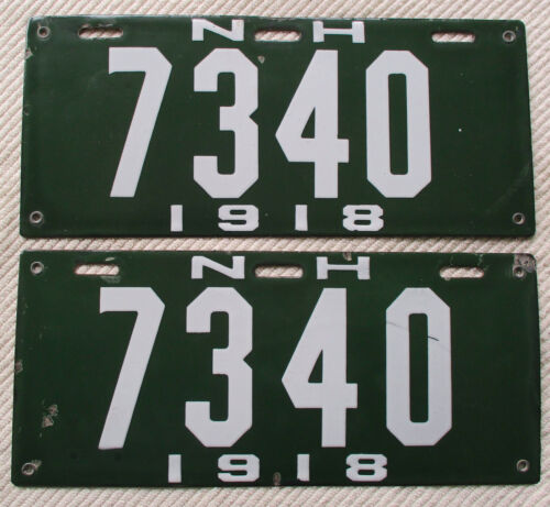 1918 New Hampshire Porcelain License Plate Pair, #7340