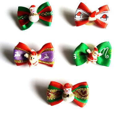 5 Haarschleifen für Hunde Gesamtpaket Weihnachten mit Weihnachtsmann Schneemann