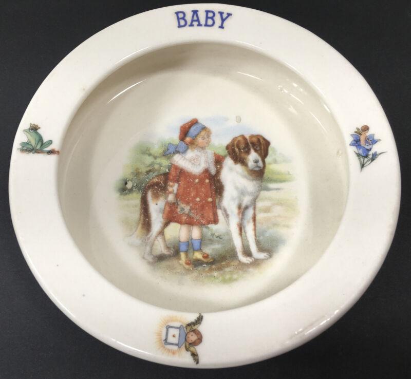 Vintage Baby Dish Feeding Bowl Art Deco 1930s Czechoslovakia Girl & Dog