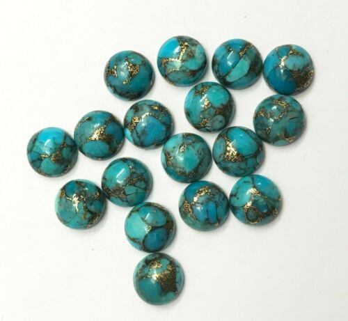 Lot Natural Blue Copper Turquoise 6X6 mm Round Cabochon Loose Gemstone AB04
