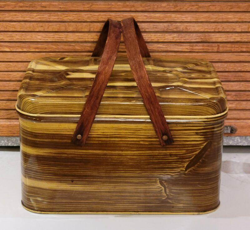 Vtg Metal Breadbox Wood Grain Look Vented Wood Double Handles Brown 8x9.5x13.5