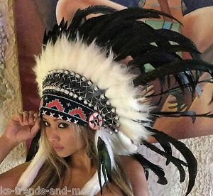 Federhaube Indianer - Federschmuck schwarz-weiß echte Federn