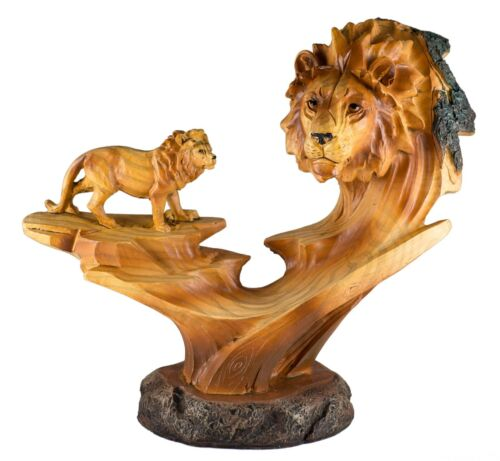 "Lion Faux Carved Wood Look Figurine 7.25"" Long Resin Statue New"