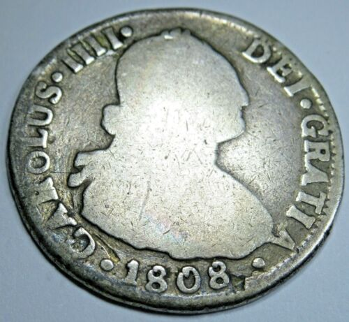 1808 FJ Santiago Chile Spanish Silver 2 Reales Piece of 8 Real Colonial Era Coin