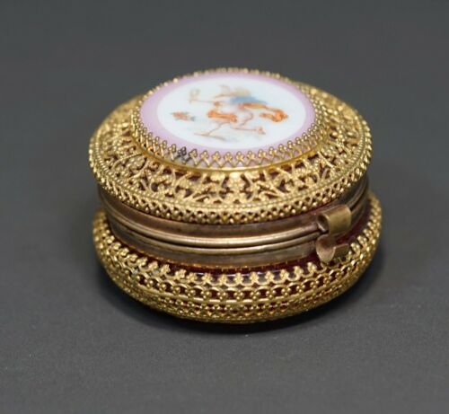 Victorian Moser Glass Jeweled Cranberry Red Casket Round Pill Box Cherub Cupid