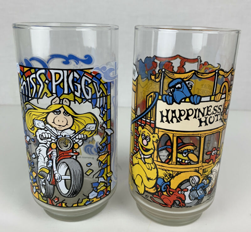 Vintage 1981 Muppets Mcdonald's Drinking Glasses Set Of 2 Miss Piggy
