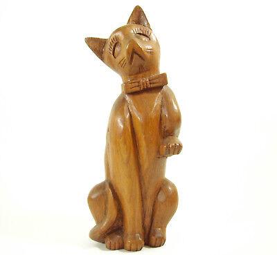Carved Wood Sad CAT Wearing Bowtie Figurine Figure Beautiful Grain Kitty Kitten